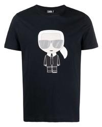 Мужская темно-синяя футболка с круглым вырезом с принтом от Karl Lagerfeld
