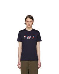 Мужская темно-синяя футболка с круглым вырезом с принтом от Moncler