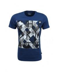 Мужская темно-синяя футболка с круглым вырезом с принтом от s.Oliver Denim