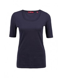 Женская темно-синяя футболка с круглым вырезом от s.Oliver