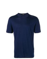 Мужская темно-синяя футболка с круглым вырезом от Theory