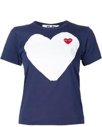 Женская темно-синяя футболка с принтом от Comme des Garcons