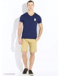 Мужская темно-синяя футболка с v-образным вырезом с принтом от Oodji