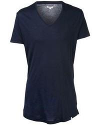Темно-синяя футболка с v-образным вырезом