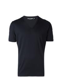 Мужская темно-синяя футболка с v-образным вырезом от Dolce & Gabbana