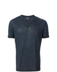 Мужская темно-синяя футболка с v-образным вырезом от John Varvatos