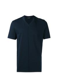 Мужская темно-синяя футболка с v-образным вырезом от Neil Barrett
