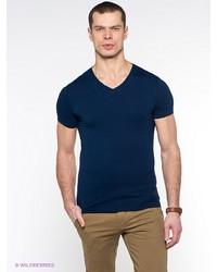Мужская темно-синяя футболка с v-образным вырезом от Oodji