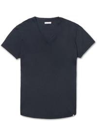 Мужская темно-синяя футболка с v-образным вырезом от Orlebar Brown