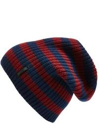 Темно-синяя шапка в горизонтальную полоску