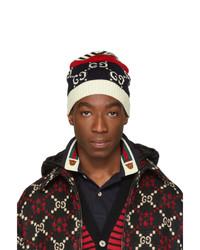Мужская темно-синяя шапка в горизонтальную полоску от Gucci