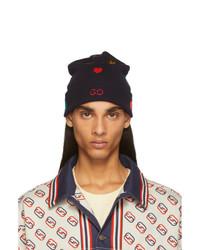 Мужская темно-синяя шапка с принтом от Gucci