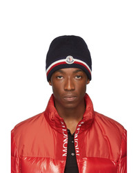 Мужская темно-синяя шапка с принтом от Moncler