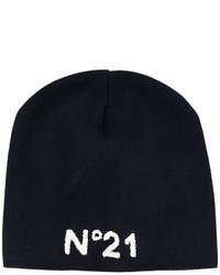 Мужская темно-синяя шапка с принтом от No.21