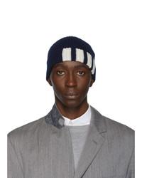 Мужская темно-синяя шапка с принтом от Thom Browne