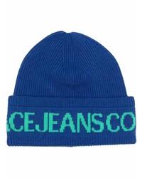 Мужская темно-синяя шапка с принтом от VERSACE JEANS COUTURE