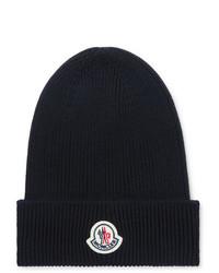 Мужская темно-синяя шапка от Moncler