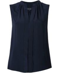 Темно-синяя шелковая блузка со складками от Derek Lam