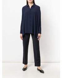 Темно-синяя шелковая классическая рубашка