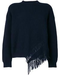 Темно-синяя шерстяная блузка c бахромой от Stella McCartney
