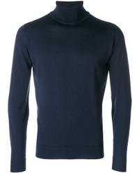 Мужская темно-синяя шерстяная водолазка от John Smedley