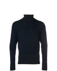 Мужская темно-синяя шерстяная вязаная водолазка от Thom Browne