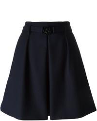 Темно-синяя шерстяная короткая юбка-солнце со складками от Kenzo