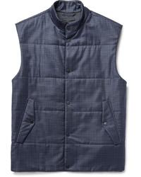 Темно-синяя шерстяная куртка без рукавов в клетку