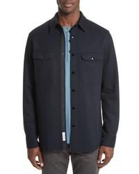 Темно-синяя шерстяная куртка-рубашка