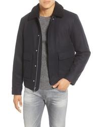 Темно-синяя шерстяная куртка харрингтон