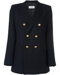 Женская темно-синяя шерстяная куртка от Saint Laurent