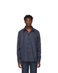 Мужская темно-синяя шерстяная рубашка с длинным рукавом от Gucci