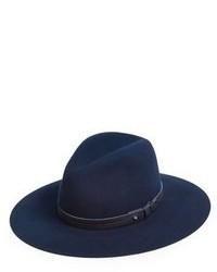 Темно-синяя шерстяная шляпа