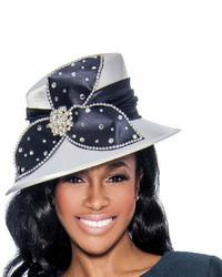 Темно-синяя шляпа с украшением