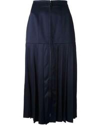 Темно-синяя юбка-миди со складками от Fendi