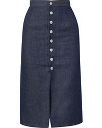 Темно-синяя юбка-миди с разрезом