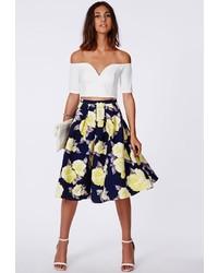 Темно-синяя юбка-миди с цветочным принтом