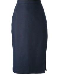 Темно-синяя юбка-миди