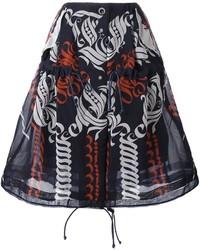 Темно-синяя юбка с принтом от Sacai