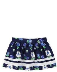 Темно-синяя юбка с цветочным принтом