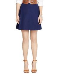Темно-синяя юбка-трапеция