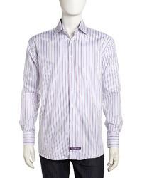 Фиолетовая классическая рубашка в вертикальную полоску