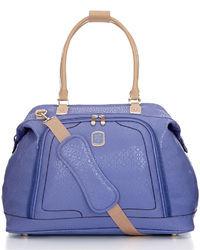 Фиолетовая кожаная большая сумка