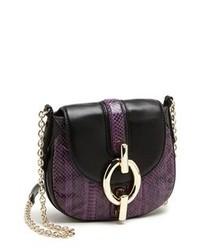 Фиолетовая кожаная сумка через плечо