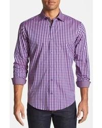 Фиолетовая рубашка с длинным рукавом в мелкую клетку