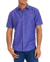 Фиолетовая рубашка с коротким рукавом с принтом