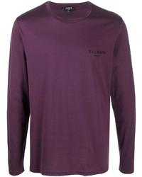 Мужская фиолетовая футболка с длинным рукавом от Balmain