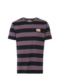 Фиолетовая футболка с круглым вырезом в горизонтальную полоску