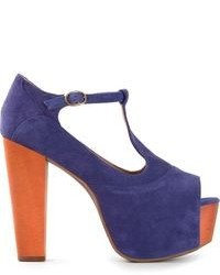 Фиолетовые замшевые босоножки на каблуке