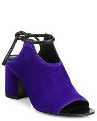Фиолетовые замшевые сабо